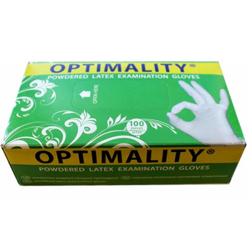 Перчатки латексные опудренные оптималити (latex gloves powdered optimality)