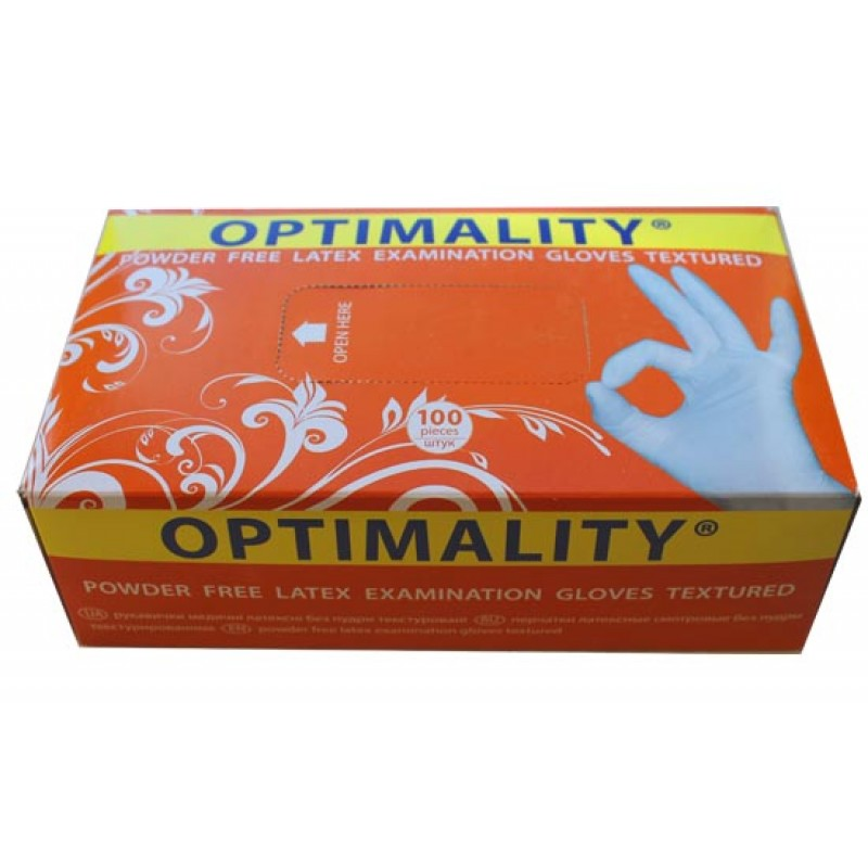 Перчатки латексные без пудры оптималити (latex gloves powder free optimality)